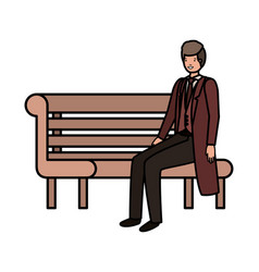 businessman sitting in park chair avatar character vector image