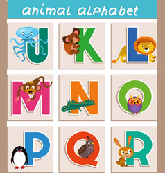 cartoon animal alphabet vector image
