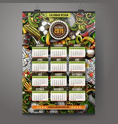 cartoon colorful hand drawn doodles football 2019 vector image