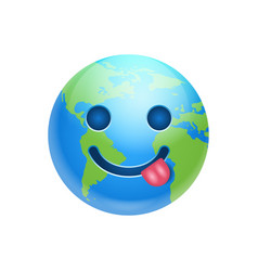cartoon earth face show tongue icon funny planet vector image