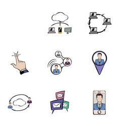 chat icons set cartoon style vector image