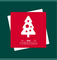 chrismtas card with red background and tree vector image