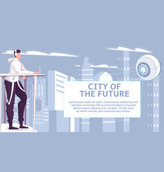 City future flat background vector