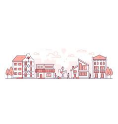 City life - modern thin line design style vector