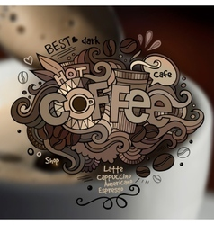 Coffee hand lettering and doodles elements vector