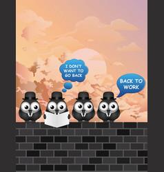 comical back to work bird businessmen vector image