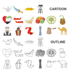 Country united arab emirates cartoon icons in set vector