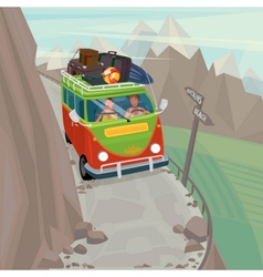 Couple in a hippie bus rides on the mountain vector
