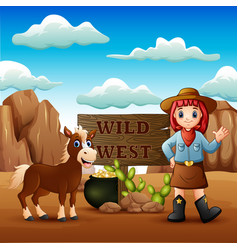cowgirl wild west landscape with horse vector image