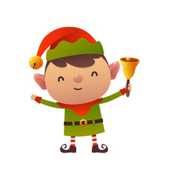 cute cartoon christmas elf holds bell on white vector image