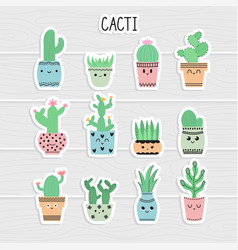 cute stickers set of cacti and succulents cacti vector image