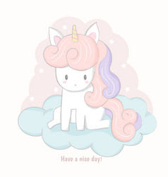 cute unicorn cartoon sitting on the cloud vector image