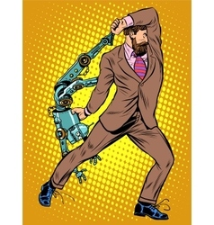 Cyclops businessman against a robot vector