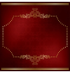 Dark red card with gold decor vector