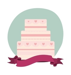 Delicious cake pink isolated icon vector