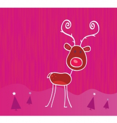 doodle Christmas reindeer Rudolph vector image