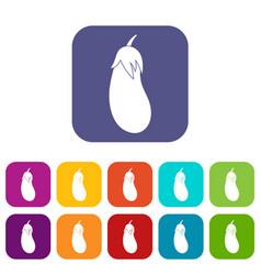 eggplant icons set vector image vector image