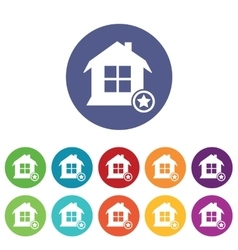 Favorite house icons colored set vector