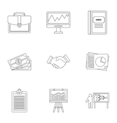Firm icons set outline style vector