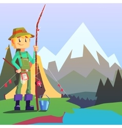 Fisherman Camping With The Mountain Landscape On vector image