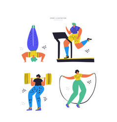 Fitness training hand drawn color set vector