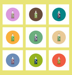 Flat icons halloween set of bottle with potion vector