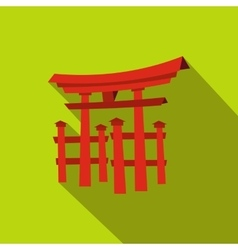 Floating Torii gate Japan icon flat style vector