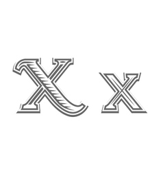 Font tattoo engraving letter X vector