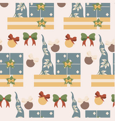 gnome hat and gifts in a seamless pattern design vector image