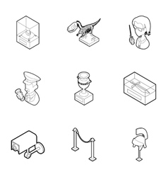 Going to museum icons set outline style vector image