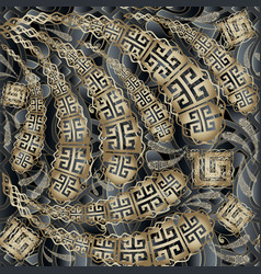 greek key meanders floral 3d seamless pattern vector image
