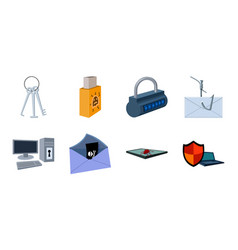 Hacker and hacking icons in set collection for vector