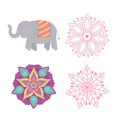 happy diwali festival floral mandala flowers vector image