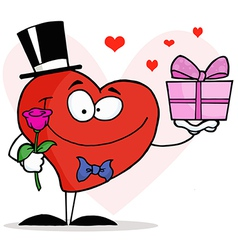 Heart Holding A Single Rose And A Gift vector image
