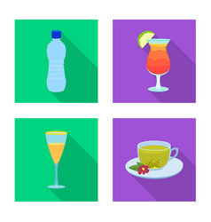 isolated object of drink and bar logo collection vector image