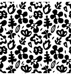Large colorful flowers on black seamless pattern vector image