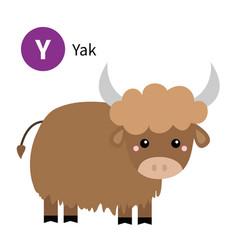 letter y yak zoo animal alphabet english abc vector image