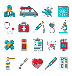 medical healthcare colored line icons set vector image