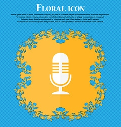 microphone icon Floral flat design on a blue vector image