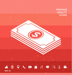 Money banknotes stack with dollar isometric icon vector