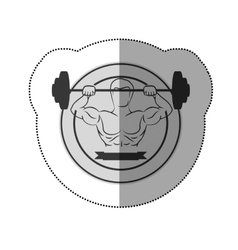 Monochrome sticker with muscle man lifting a disc vector