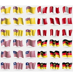 Niue Peru Liberia Germany Set of 36 flags of the vector image