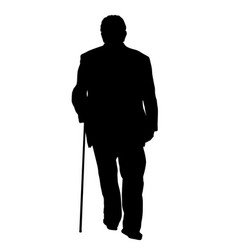 Old man silhouette with stick vector
