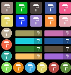 Paint roller sign icon Painting tool symbol Set vector image