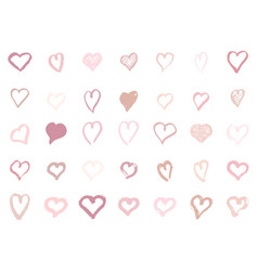 pastel pink hearts set hand-drawn shape of vector image