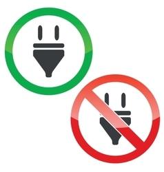 Plug permission signs set vector