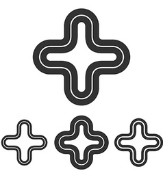 Plus line logo design set vector