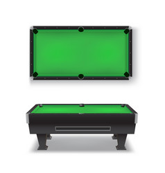 Pool table realistic set top side view billiard vector