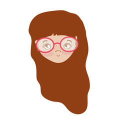 Pretty girl face with haistyle and glasses vector