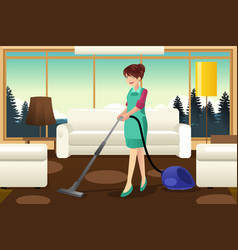 Professional maid vacuuming carpet vector